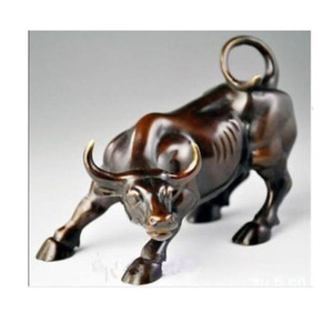 Collection Alloy Color censer Ssangyong handle incense Big Wall Street Bronze Fierce Bull OX Statue vintage home decor