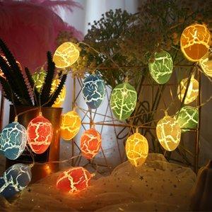 1,5 m LED Pâques œufs de Pâques Décoration 10pcs Colorful Crack oeufs LED lumières Décoration de Pâques pour Home Kids Holiday Cadeaux HWD4388