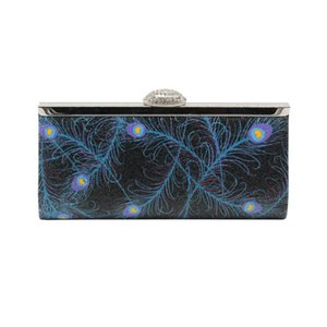 European American fashion evening bag diamonds flash material peacock feathers pattern clutch bag for lady