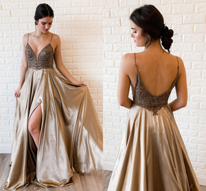 2021 Fashion V-neck Prom Dress Split Side Open Back Embroidered Beaded A-line Elegant Evening Formal Gowns Long Party Bridesmaid Dress Cheap