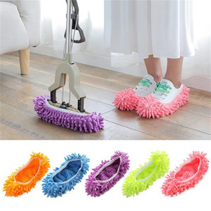 House slippers mop shoe cover multifunctional solid dust collector house bathroom floor shoe cover cleaning chenille slippers
