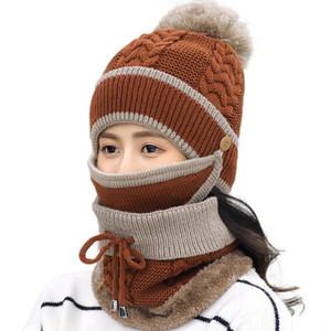 Decoración de Navidad 12 estilos punto Hat + Scarf + Máscara 3 piezas traje de punto Cap de vestuario de invierno suaves y cálidos chicas más Gorros