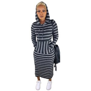 Striped Printed Womens Dresses Casual Hooded Designer Long Sleeve Fashion Slim Womens Bydcon Clothing Autumn And Winter