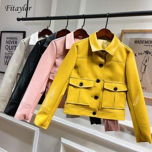 Fitaylor Vintage-Biker-Lederjacke Kunstleder Kurzschluss-Entwurf Einreiher Punk Jacke Weiß Gelb Outerwer