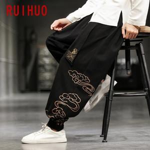 RUIHUO Bulut Erkek Keten Pantolon Hip Hop Pantolon Erkek Pantolon Erkek Giyim Jogger Harajuku Sweatpants 2020 Yeni M-5XL yazdır