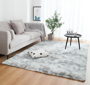 Anti-slip Floor Mats Grey Carpet Tie Dyeing Plush Soft Carpets Bedroom Water Absorption Carpet Rugs For Living Room Bedroom E7o2# bbypngD