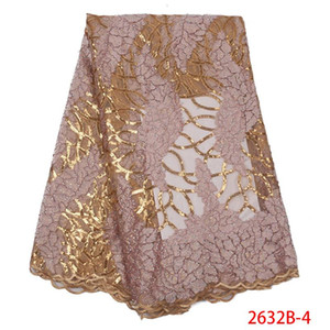 Luxury Gold Sequins Lace Fabrics French Lace Fabric with Stones High Quality African Tulle Mesh for Wedding Party APW2632B
