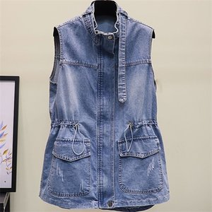 Sommer justierbare Taille Vintage-Jeans Weste Frauen Ärmel Jacke Reißverschluss-Tasche Lange Denim Mantel plus Größe weiblich Outwear K60804 1023
