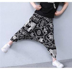 2020 Yaz Çocuk Buzağı Uzunlukta Erkek Kız Pantolon Tay Fil Desen Harem Pantolon Genç Çocuk Pantolon 10 12 14 16 Yıl LJ200831