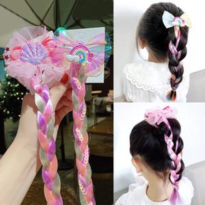 NEW Красочные парик Pigtail Резинка для девочек Блестки Блеск Unicorn Scrunchies хвостик волос Канаты Дети головной убор