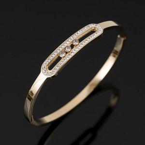 CZ Crystal Sliding Bangle Bracelet Luxury Rhinestone Gold-plated Stainless Steel Bracelet For Women's Wedding Wristband Jewelry