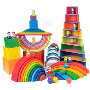 Baby Toys Large size Rainbow Building Blocks Wooden Toys For Kids Creative Rainbow Stacker Montessori Educational Toy Children 201014