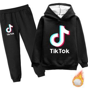 Cotton Fleece Hoodies Set For Big Boy Girl Tik Tok Thick Warm Sweatshirt and Jogger Pants Kids Toddler Tops Outerwear