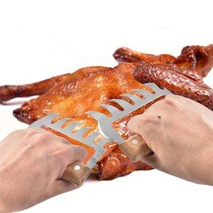 304 из нержавеющей стали мясные когти металлические мясные вилки с деревянной ручкой барбекю мясо измельчителя мясных когтей кухонные инструменты