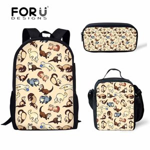FORUDESIGNS Children Bags for Cheeky Ferrets Printing Schoolbag Kids 3pcs set Primary School Backpack Girls Satchel Q1109