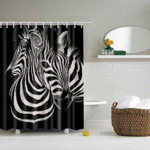Animaux Cheval Douche Rideau Grand 180x200cm Bath 3D Simple Impression Simple Polyester étanche pour la salle de bain Décor Cortina de Bano