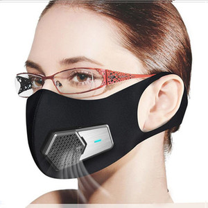 Top Quality Smart Electric Fan Masks PM2.5 Dustproof Mask Anti-Pollution Pollen allergy Breathable Face Protective Cover 4 Layers Protect