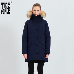 Tiger Force Женщины Зимняя куртка утолщенной Теплый Parka с Real Fur Hood водонепроницаемый ветрозащитный Открытый Snowjacket ватник 201022