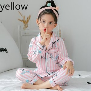 Spring and autumn childrens long sleeved pajamas suit for kids 100%cottonSilk girls boys household clothes children pajamas Designer