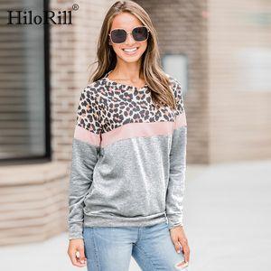 HiloRill Women Casual Long Sleeve Autumn T-shirt Leopard T shirt Spring Top Tees Femme Ladies Tshirt Clothes Plus Size S-XL 201014