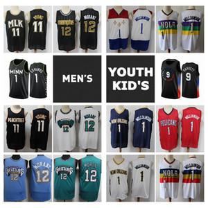 2021 mens juventude crianças zion 1 williamson jersey autêntico costurado 1 anthony edwards 12 ja morant trae 11 jovem juventude jersey
