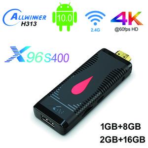 Android 10.0 Akıllı TV Sopa 2 GB 16 GB X96 S400 Allwinner H313 Dört Çekirdekli RTL8189 2.4G WiFi 1080 P Android10 TV Dongle Stick Ev Film