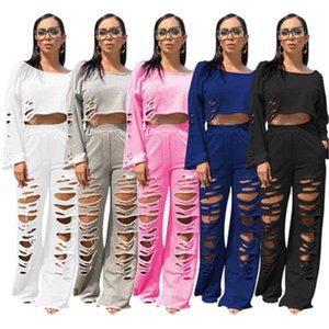Длинные рукава Solid Color 2Pcs Наборы конструктор Женской Повседневная шея Свободные костюмы Женщины Ripped Flared Pant Толстовка костюм мода