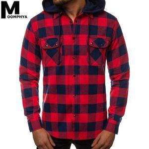 Мужские повседневные рубашки Moomphya 2021 Streetwear Рубашка с капюшоном Мужской плед капюшовый карман для
