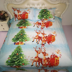 BEST.WENSD Santa Claus  christmas tree Bedding set American style christmas duvet california king bed- king size comforter set1