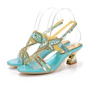 Christia Bella Plus Size Bohemian StyleThin Heels Pumps Temperamental Crystals Open Toe Women Shoes Buckle High Heels Shoes