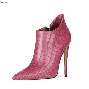 Olomm New Handmade Women Ankle Boots Sexy Stiletto Heels Boots Charm Pointed Toe 3 Colors Dress Shoes Women US Size 4-13