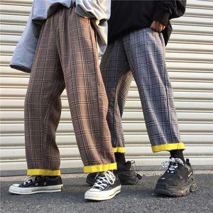 Harajuku Women Pants Loose Hipster Vintage Plaid Chic Korea Ulzzang Casual Pants 2020 New Unisex Plaid Streetwear Autumn Pants LJ201103