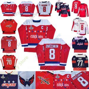 Capitales de Washington Jersey 2018 Champions Patch 8 Alex Ovechkin 19 Nicklas Backstrom 43 Tom Wilson 70 Braden Holtby tamaño S-3XL