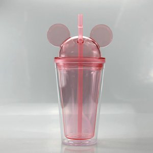 Clear Acrylic Travel Dome Double Cute Tumblers With Walled Lid Water 8 450ml Mouse Straws Mugs Cups Colors Kid Ear 15oz Bottles sqcbd