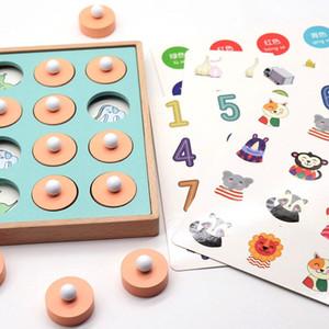 Montessori Hafıza Maç Satranç Oyunu 3D Bulmacalar Ahşap Erken Eğitim Toy Aile Partisi Casual Etkileşim Oyun Oyuncak For Children Hediye Çal