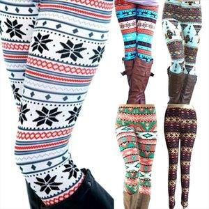 New Brand Women Warm Winter Knit Snowflake Leggings Xmas Stretch Pants Printing Nine Pants Drop Shipping