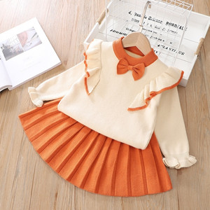 Children Clothes Autumn Winter Toddler Girls Clothes Set Cartoon Tops+Skirt Tracksuit Suit Kids Outfits For Baby Girls 7 8 Years 201026