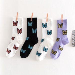 3 Pairs set New Butterfly Socks Women Streetwear Harajuku Crew Women Socks Fashion EU Size 35-40 Dropshipping Supply 200930