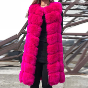 High quality Fur Vest Coat Luxury Faux Warm Women Vests Winter Fashion furs Women's Coat Jacket Gilet Veste 4XL LJLS0761