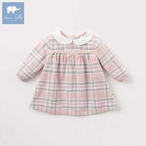DBM7742 Dave Bella Autunno Autunno Baby Girl's Fashion Plaid Dress Bambini Compleanno Party Dress Toddler Bambini Vestiti T200709