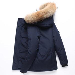 Down Hombres Invierno Parka Espesor cálido Outwear Outwear Cara Style Mapache Cuello de piel de mapache Abrigo Down Chaqueta de hombre Tamaño M-3XL