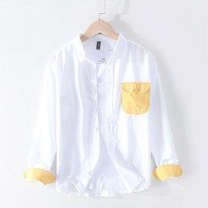 Vestido masculino camisas 2021 outono retalhos bolso camisa homens algodão linho causal manga longa plus tamanho roupa de alta qualidade