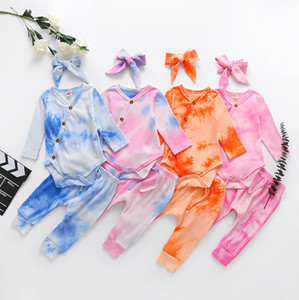 INS New Designer Lovely Newborn Tie Dyed Rompers pants suits With Hairband 3pieces Baby Boys Girls Jumpsuits Sleeper Bags Onesies 0-12M