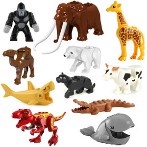 Animal Building Blocks Bricks Shark Leopards Tiger Giraffe Bear Wolf Dinosaur Mini Figure Toy for Children compatible with Q1222