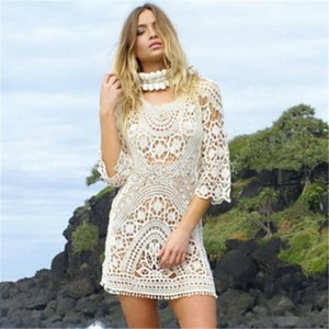 Swimwear Women Beach Cover Up Women White Lace Tunic Beach Dress Sexy Backless Bathing Suit Crochet Bikini Swimming Beach Wear T200708