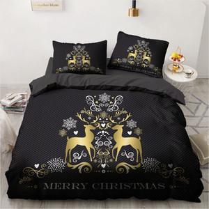 3D Black Duvet Cover Sets Bedding Set Bed Linen Xmas Comforter Case Pillwocase Queen Double Twin Size Marry Christmas Gold Deer 1012