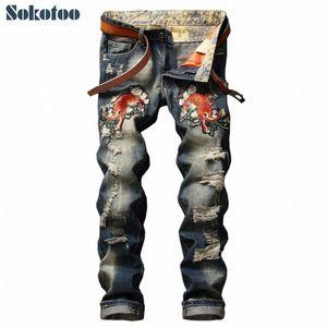 Sokotoo Herrenmode Tigerblumenstickerei Jeans beiläufige Löcher riss dünne Jeans Lange Hosen RCtN #