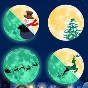 벽 스티커 파랑 Chritmas 달 루미 너스 글로우 스티커 나이트 클럽 형광 스티커 데칼 Xams 눈사람 홈 벽 창 장식 FWB2282