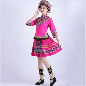 Female Miao Costumes ethnic embroidered flower Clothes stage performance wear for singers Hmong folk dancing dress