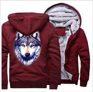 fashion new Wolf head Digital Printed Zipper Hoodies Men's Women's Cotton Jacket